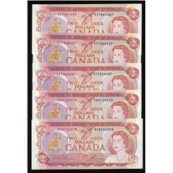Bank of Canada $2 1974 - Lot of 5 Sequential Prefix Radars