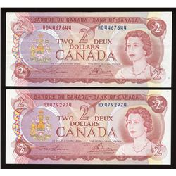 Bank of Canada $2, 1974 - Lot of 2 Radars