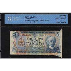 Bank of Canada $5, 1972 - Folding and Cutting Error