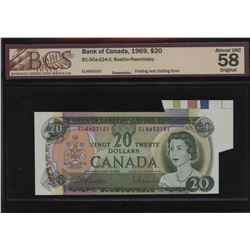 Bank of Canada $20, 1969 - Folding and Cutting Error