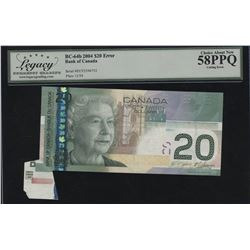Bank of Canada $20, 2004 - Cutting Error