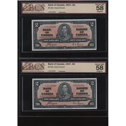 Bank of Canada $2, 1937 - Lot of 2 Consecutive Notes