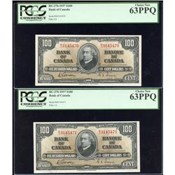 Bank of Canada $100, 1937 - Lot of 2 Consecutive