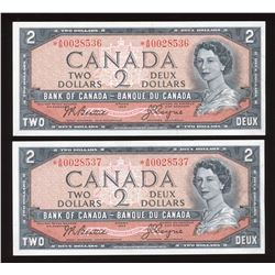 Bank of Canada $2, 1954 Replacements - Lot of 2 Consecutive