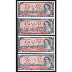 Bank of Canada $2, 1954 Replacements - Lot of 4 Notes