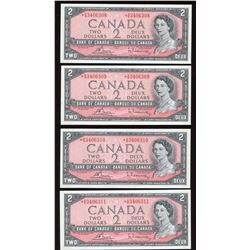 Bank of Canada $2, 1954 Replacements - Lot of 4 Consecutive