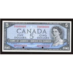 Bank of Canada $5, 1954 Specimen