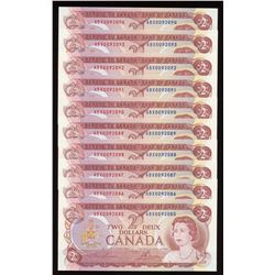Bank of Canada $2, 1974 Replacements - Lot of 10 Consecutive