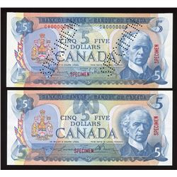 Bank of Canada $5, 1972 & 1979 - Specimen Notes