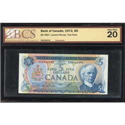 Bank of Canada $5, 1972 Test Note