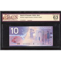 Bank of Canada $10, 2001 Replacement