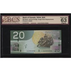Bank of Canada $20, 2004 Single Note Replacement