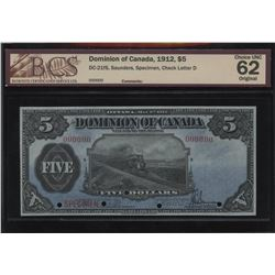 Dominion of Canada $5, 1912 - Specimen