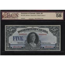 Dominion of Canada $5, 1924 - Specimen