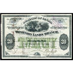 Dominion of Canada - Dominions Lands Branch $20 Scrip