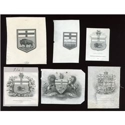 Die proof vignettes: Provincial and National Shields.