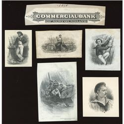Commercial Bank of Newfoundland, four die proof vignettes, sailors and fishermen.