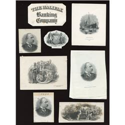 Halifax Banking Co & Bank of Hamilton - Eight engraved items.