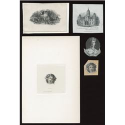 Peoples Bank of New Brunswick, Bank of Prince Edward Island - Five die proof vignettes.
