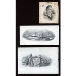 Union Bank of Halifax - Three die proof vignettes.