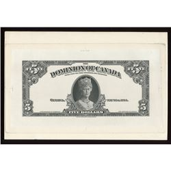 Dominion of Canada, 1924 $5 B&W Face die proof, mounted on card.