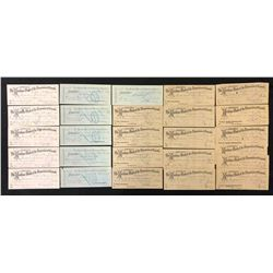 Maritime Bank of the Dominion of Canada, cheques, drafts, five of each of five different kinds.