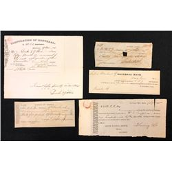 Lot of 5 Banking Documents from the Collection of Walter Allan.