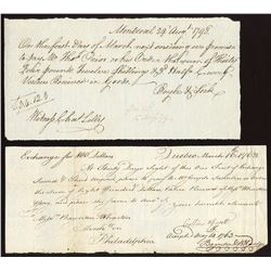 Hand written eighteenth century financial documents