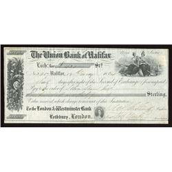 Union Bank of Halifax, Bill of Exchange, 1864, ABNCo imprint.