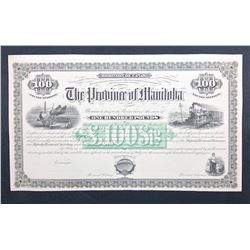 Province of Manitoba £100 Debenture Lot of Two very rare and attractive documents.