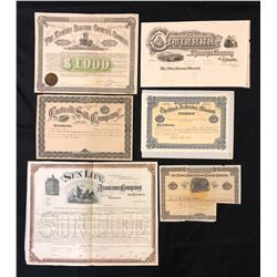 Six assorted financial documents printed by Canada Bank Note Co.