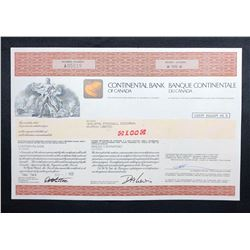 Continental Bank of Canada, share certificate