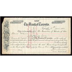 "Bank of Toronto, ""Scrip"" share certificate"