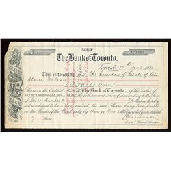 "Bank of Toronto, ""Scrip"" share certificate"