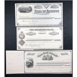 Drafts, cheque, printed by Canada Bank Note Co.
