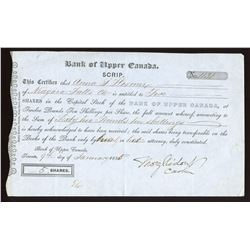 Bank of Upper Canada, certificate for 5 share