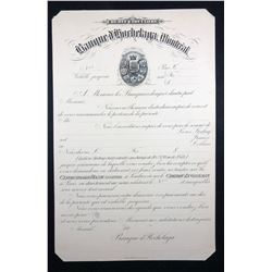 Banque d'Hochelaga, Letter of Credit 189_, Proof, on Card.