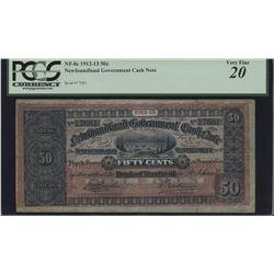 Newfoundland Government Cash Note 50 Cents, 1912-13