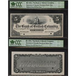Bank of British Columbia, $5 1894 Face and Back Proofs