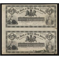 Bank of British North America, 1871 $5 Face Proofs.