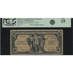 Canadian Bank of Commerce, 1938 £1 Jamaica.