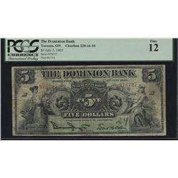 Dominion Bank $5, 1905