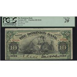 Dominion Bank $10, 1910 - Error Cut