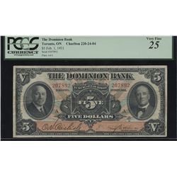 Dominion Bank $5, 1931