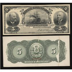Banque D'Hochelaga $5, 1898