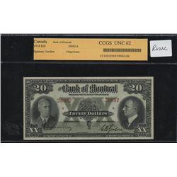 Bank of Montreal $20, 1938 Radar