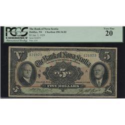 Bank of Nova Scotia $5, 1929