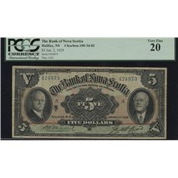 Bank of Nova Scotia $5, 1929