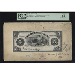 Quebec Bank, $5 1901 Model.