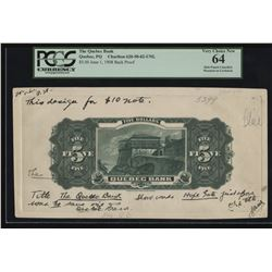 Quebec Bank, 1908 $5 Development Item, Back Progress Proof